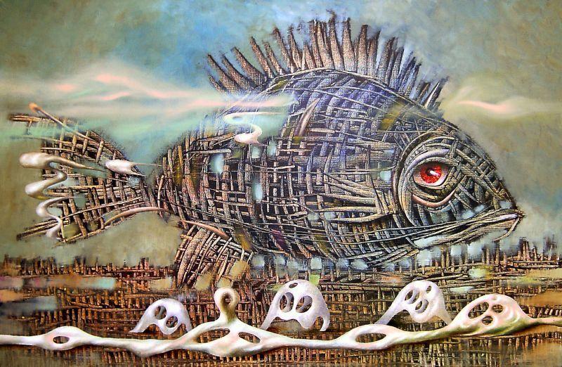 "картина ""Рыба"", холст, масло, автор Андрей Лозовой"